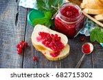 homemade jam. a glass jar with...   Shutterstock . vector #682715302