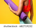 sporty yoga girl with yoga mat... | Shutterstock . vector #682719232