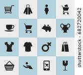 set of 16 editable trade icons. ...