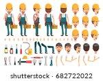 electrician cartoon character... | Shutterstock .eps vector #682722022