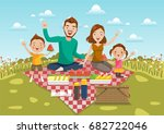 dad mom  son daughter are... | Shutterstock .eps vector #682722046