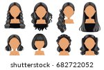 beautiful  hairstyle black hair ... | Shutterstock .eps vector #682722052