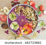 acai smoothie bowl with granola ... | Shutterstock . vector #682723882