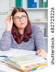 teenage girl preparing for... | Shutterstock . vector #682725226