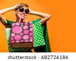 young happy summer shopping... | Shutterstock . vector #682726186