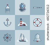 set of objects on marine theme... | Shutterstock .eps vector #682726312