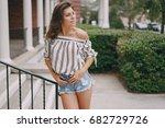 young model brunette walks the... | Shutterstock . vector #682729726