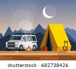 camping. car with a tent and... | Shutterstock .eps vector #682738426