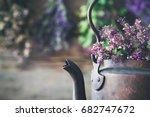 vintage rustic tea kettle full... | Shutterstock . vector #682747672