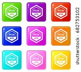 special offer pentagon icons of ... | Shutterstock .eps vector #682753102