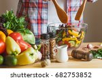 woman cook at the kitchen  soft ... | Shutterstock . vector #682753852