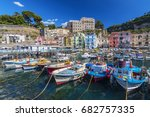 small fishing boats at harbor... | Shutterstock . vector #682757335