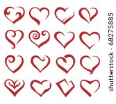 set of sixteen icons of hearts | Shutterstock .eps vector #68275885
