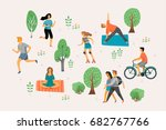 Vector stylized illustration of active young people. Healthy lifestyle. Roller skates, running, bicycle, walk, yoga. Design element in pastel colors with textures.  | Shutterstock vector #682767766