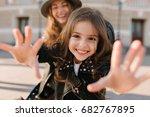 joyful girl smiles charmingly... | Shutterstock . vector #682767895