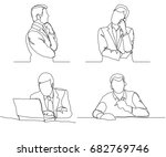 businessman thinking linear... | Shutterstock .eps vector #682769746