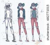 set  color sketch of female... | Shutterstock . vector #682771015