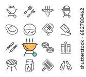 vector black line barbecue... | Shutterstock .eps vector #682780462