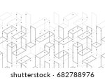 geometric lines and dots. line... | Shutterstock .eps vector #682788976