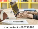 specialist is using a laptop on ...   Shutterstock . vector #682793182