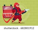 fireman holding hose wearing... | Shutterstock .eps vector #682801912