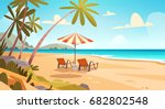 summer vacation loungers on sea ... | Shutterstock .eps vector #682802548