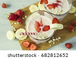 banana smoothies with... | Shutterstock . vector #682812652