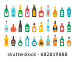 flat design alcohol bottles set ... | Shutterstock .eps vector #682819888