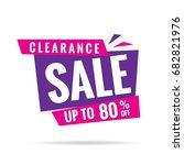 clearance sale pink purple 80... | Shutterstock .eps vector #682821976