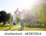 yoga at park. senior family... | Shutterstock . vector #682825816
