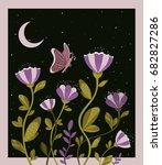spring night butterfly flowers... | Shutterstock .eps vector #682827286