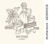 background with different soy...   Shutterstock .eps vector #682840318