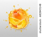 transparent juice splash with... | Shutterstock .eps vector #682845148