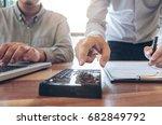 two confident executives... | Shutterstock . vector #682849792