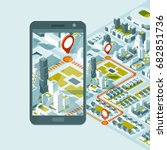 city isometric plan with road... | Shutterstock .eps vector #682851736