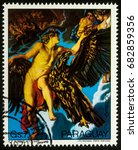 """Small photo of Moscow, Russia - July 23, 2017: A stamp printed in Paraguay shows painting Abduction of Ganymede by Rubens, series """"Paintings by Peter Paul Rubens"""", circa 1978"""