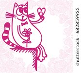 cute cartoon cat with flower...   Shutterstock .eps vector #682859932
