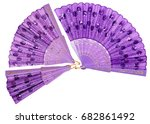 set chinese fans isolated on a...   Shutterstock . vector #682861492