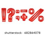 Small photo of red alphabet balloons, punctuation marks, red number and letter balloon