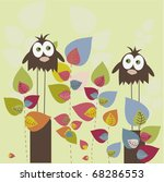 two birds on a colorful trees   ... | Shutterstock .eps vector #68286553