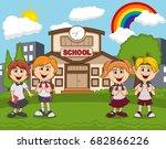 students in front of school... | Shutterstock .eps vector #682866226