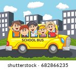 children go to school by bus... | Shutterstock .eps vector #682866235
