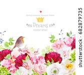 hydrangea  rose  peony  poppy ... | Shutterstock .eps vector #682879735