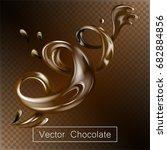 splashing and whirl chocolate... | Shutterstock .eps vector #682884856