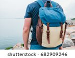 a tourist with a backpack on... | Shutterstock . vector #682909246