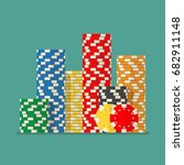 stacks colorful poker chips.... | Shutterstock .eps vector #682911148