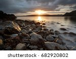 sunrise over loch portree on... | Shutterstock . vector #682920802