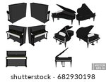 a set of pianos and pianoforte. ... | Shutterstock .eps vector #682930198
