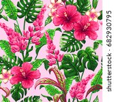 tropical leaves and flowers... | Shutterstock .eps vector #682930795