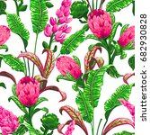 tropical leaves and flowers... | Shutterstock .eps vector #682930828